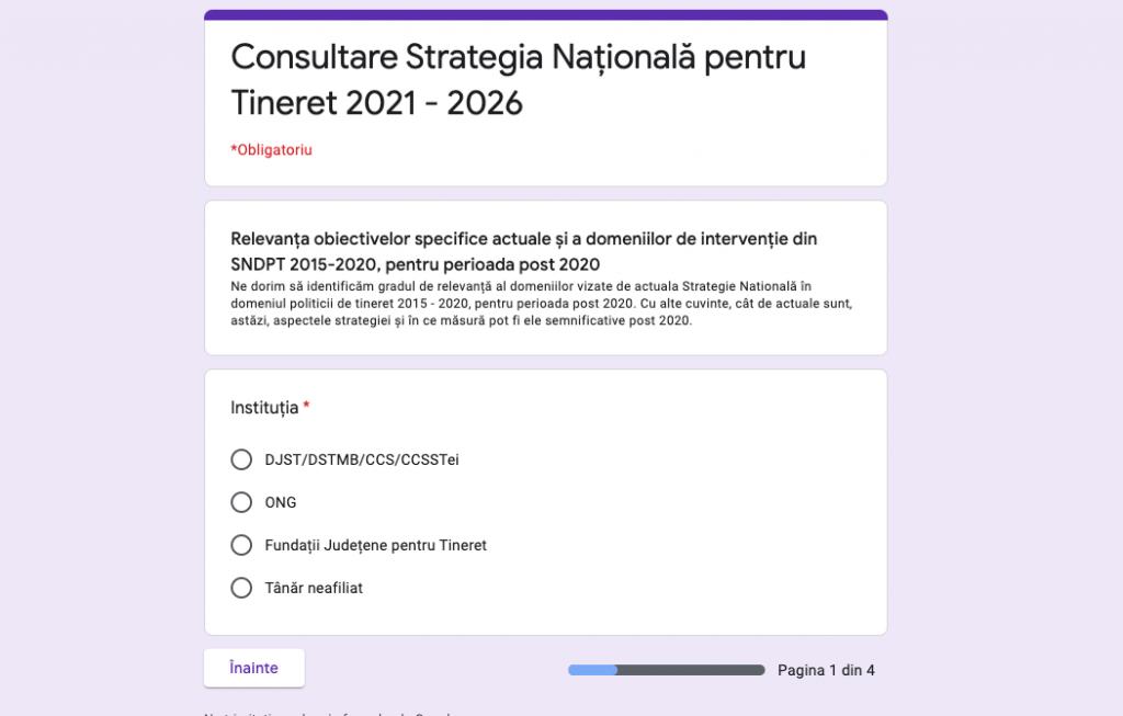 Consultare Strategia Națională pentru Tineret 2021 – 2026